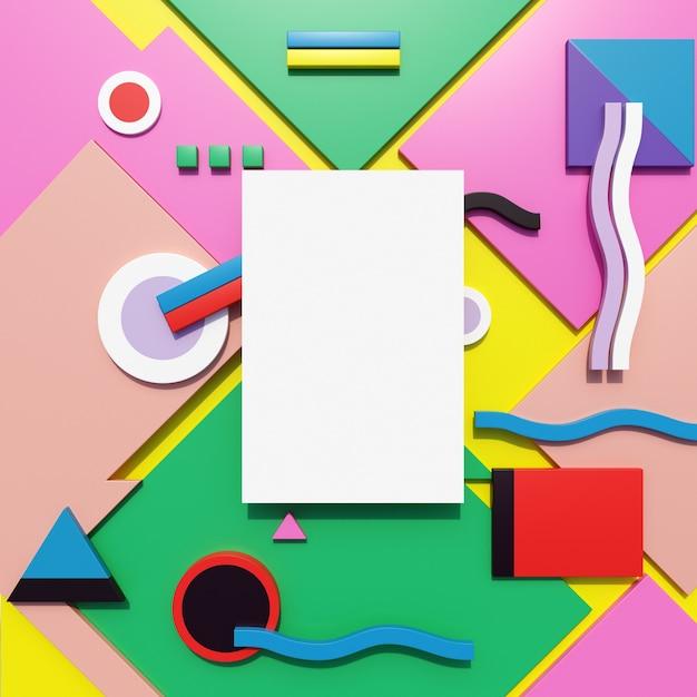 Papiermodel met kleurrijk geometrisch patroon Premium Foto
