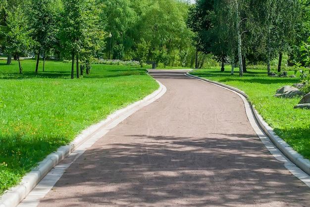 Parkbank en steeg in park in openlucht Premium Foto