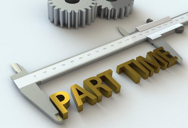 Part time, bericht op schuifmaat, 3d-rendering Premium Foto