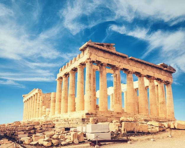 Parthenontempel op akropolis in athene Premium Foto