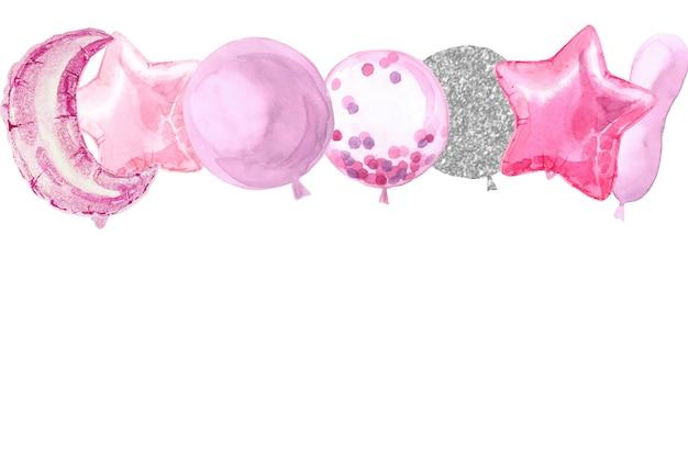 Partij aquarel grens met folie ster ballonnen Premium Foto