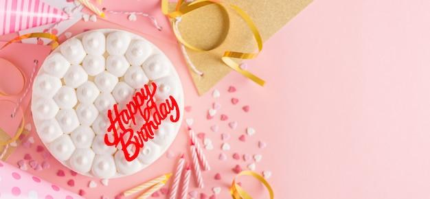 Partij verjaardag achtergrond met cake Premium Foto
