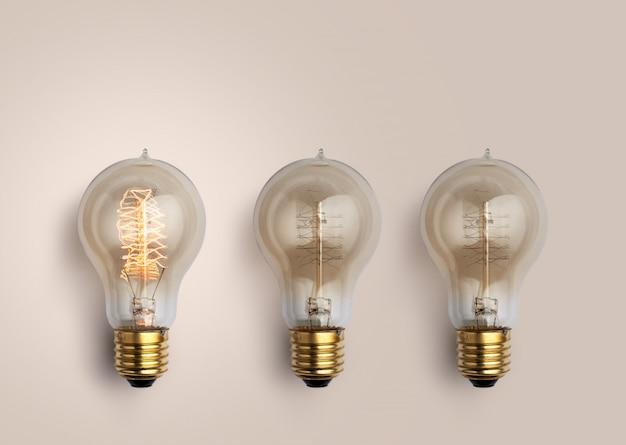 Pastel gloeilampen, creatief ideeënconcept. Premium Foto