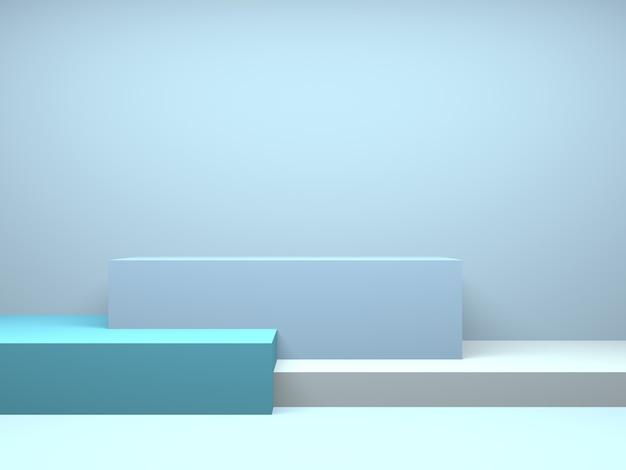 Pastel podium rechthoek geometrie blauwe kamer interieur product mockup achtergrond Premium Foto