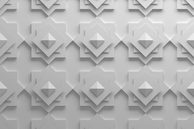 Patroon gemaakt met gedraaide vierkanten en piramides in witte kleur Premium Foto