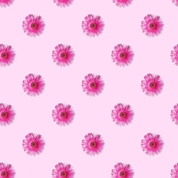 Patroon gemaakt van gerberabloemen op lichtroze achtergrond Premium Foto