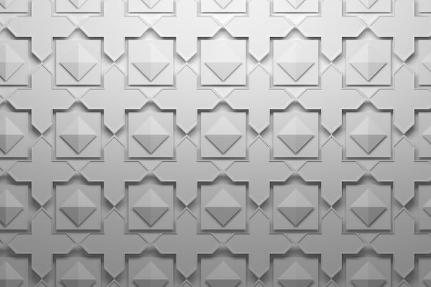 Patroon met gelaagde herhalende elementen tegels - kruisen, piramides, vierkanten Premium Foto