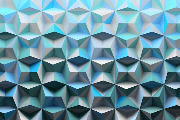 Patroon met piramidespikes gekleurd met willekeurige blauwe tinten Premium Foto