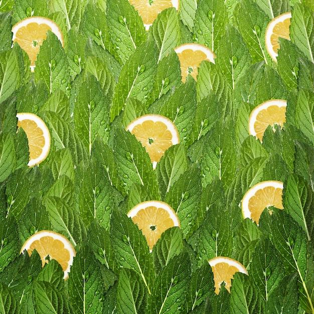 Patroon van muntblaadjes en plakjes citroen. Premium Foto