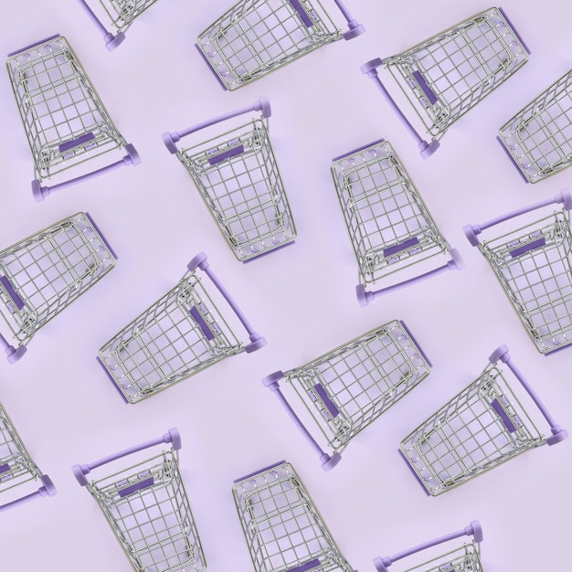 Patroon van veel kleine winkelwagentjes op een violette achtergrond. minimalisme plat leggen bovenaanzicht Premium Foto