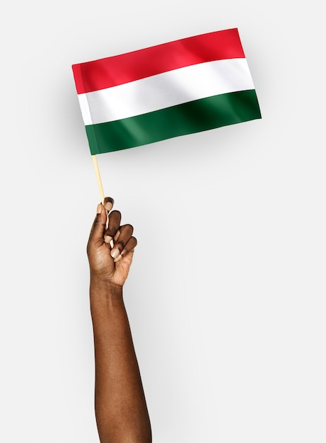 Persoon die de vlag van hongarije zwaaien Gratis Foto