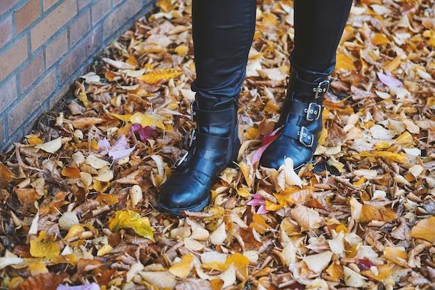 Persoon die zwarte leren laarzen draagt die in de kleurrijke bladeren lopen Gratis Foto