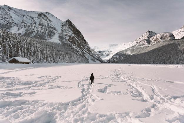Persoon in sneeuwvallei in bergen Gratis Foto