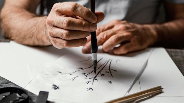 Persoon schilderij met chinese inkt Premium Foto