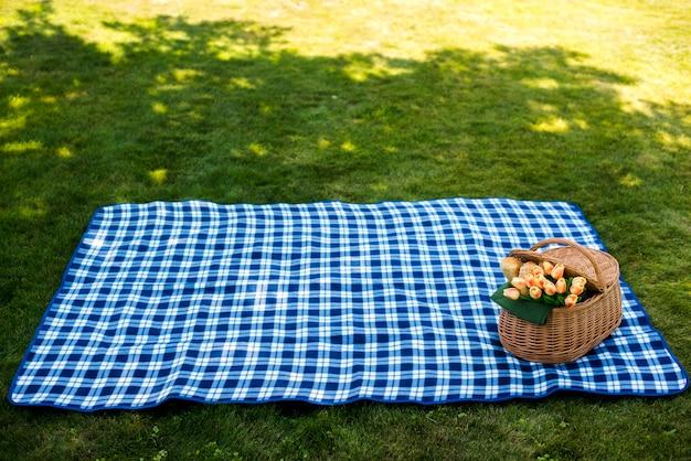 Picknickdeken met een hoge mand van de mand Gratis Foto