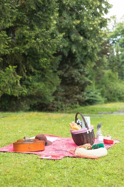 Picknickmand gevuld met voedsel met persoonlijke accessoire op deken over groen gras Gratis Foto