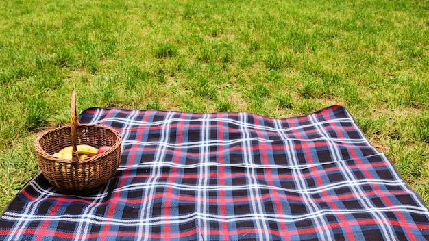 Picknickmand op deken over het groene gras Gratis Foto
