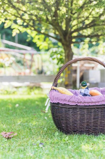 Picknickmand op groen gras Gratis Foto
