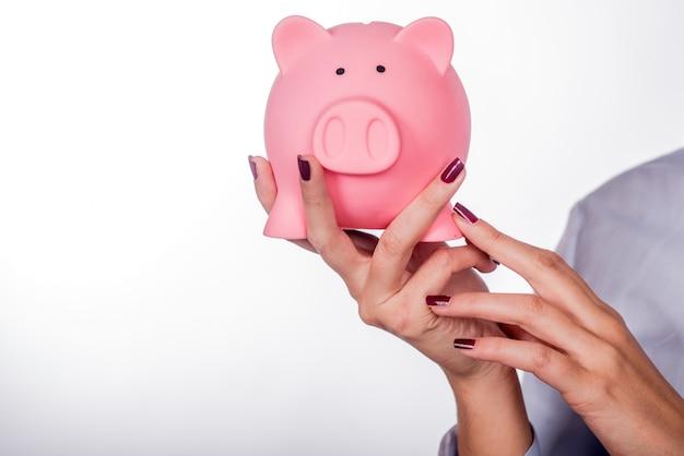Piggybank geld concept. sparen en financieel concept close-up Gratis Foto