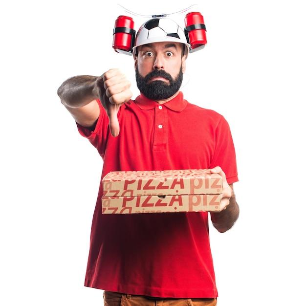 Pizza delivery man doet slecht signaal Gratis Foto