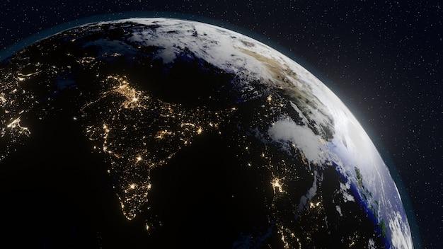 Planeet aarde vanuit de ruimte Premium Foto