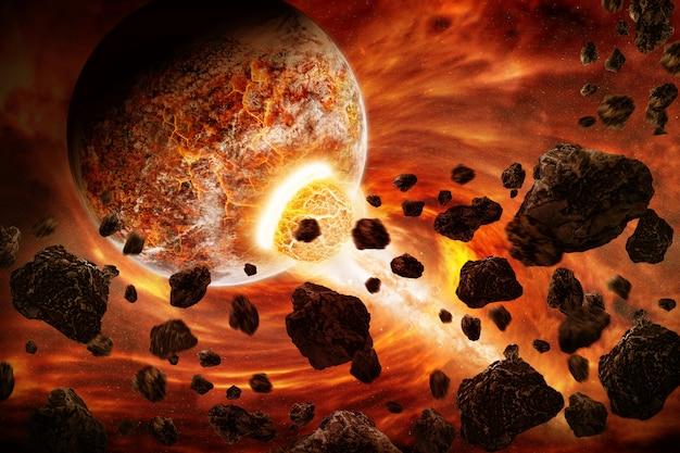 Planeet explosie apocalyps Premium Foto