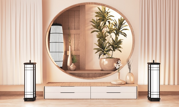 Plankenkast houten op muurruimte zen stijl en houten decoraion, aardetoon. 3d-rendering Premium Foto