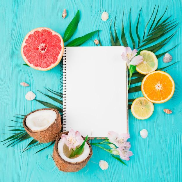 Plant verlaat in de buurt van vers exotisch fruit met een notebook aan boord Gratis Foto