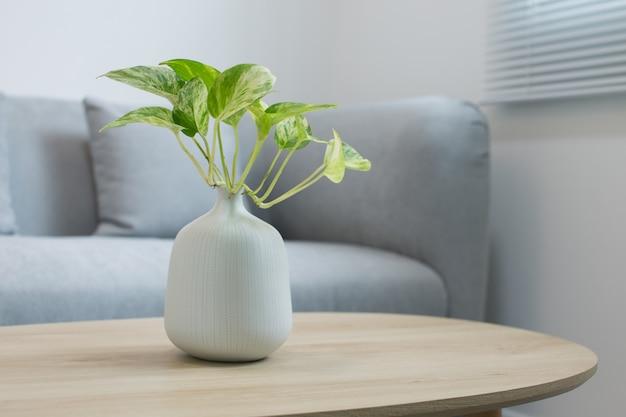 Planten in de witte vaas op een houten tafel Premium Foto