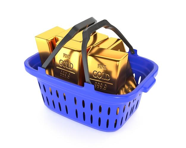 Plastic mand en gouden passement die op een witte achtergrond wordt geïsoleerd. goud- en valutareserves. 3d illustratie. Premium Foto