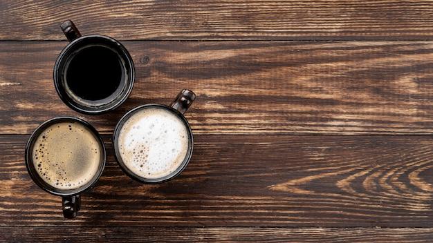 Plat koffie met kopie ruimte Gratis Foto