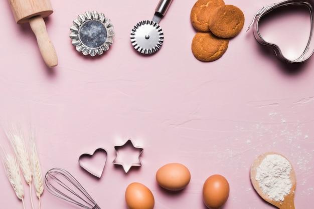 Plat lag bakkerij samenstelling met copyspace Gratis Foto