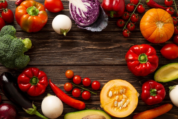 Plat lag groenten circulaire frame Premium Foto