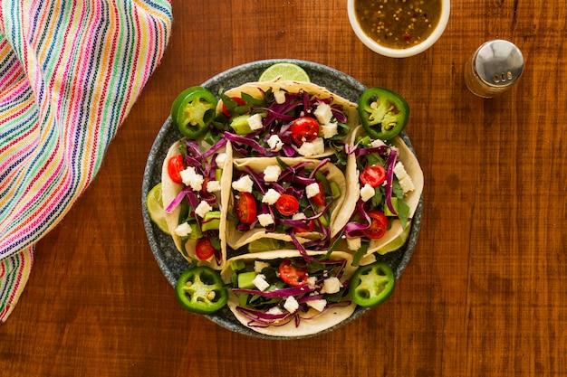 Plat lag lekker taco's arrangement Gratis Foto