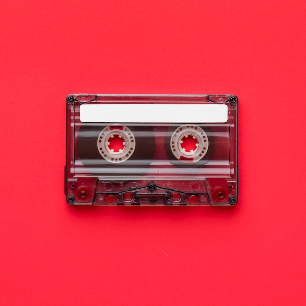 Plat lag minimalistische vintage cassettebandje Premium Foto