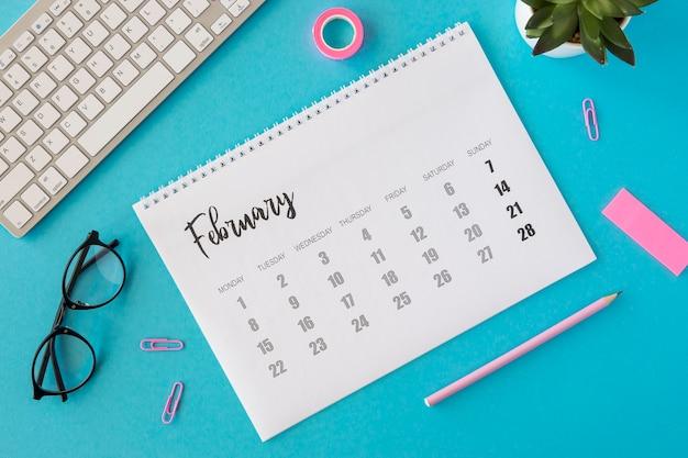 Plat lag planner februari kalender Gratis Foto