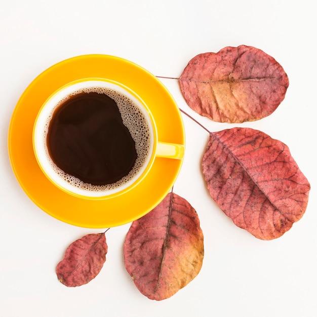 Plat lag van koffiekopje met herfstbladeren Gratis Foto
