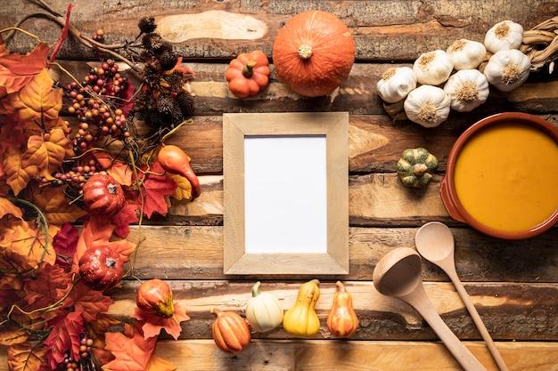 Plat leg herfst voedsel frame Gratis Foto