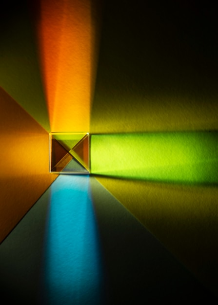 Plat leggen abstract licht prisma effect Gratis Foto