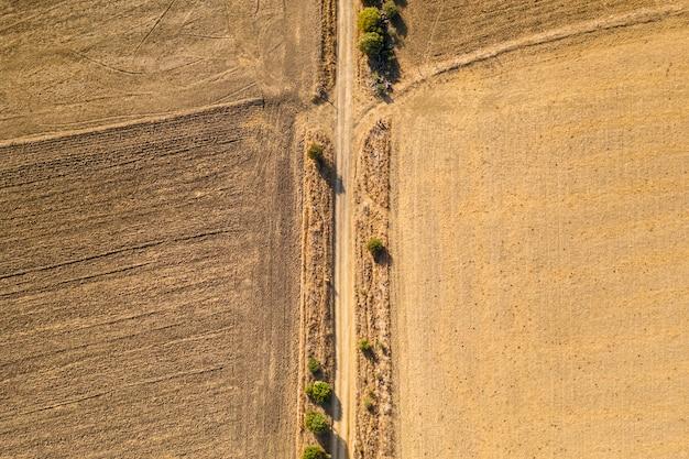 Plat leggen gedroogde herfstgewassen genomen door drone Gratis Foto