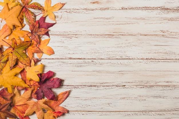 Plat leggen herfst laat kopie ruimte Gratis Foto