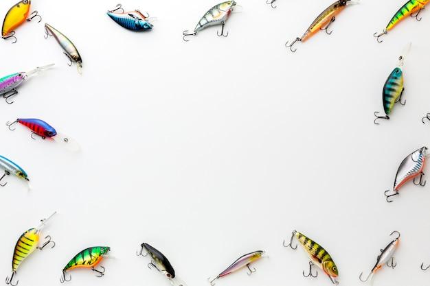 Plat leggen van kleurrijke vis aas Gratis Foto