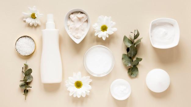 Plat leggen van natuurlijke cosmetica concept Gratis Foto