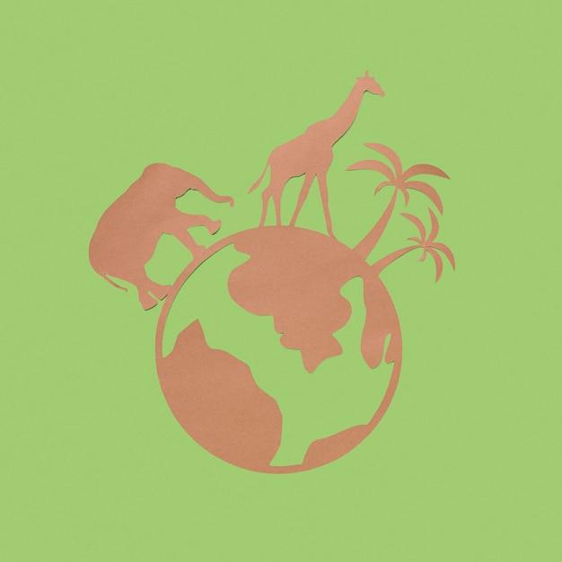 Plat leggen van papieren planeet met dieren voor dierendag Gratis Foto