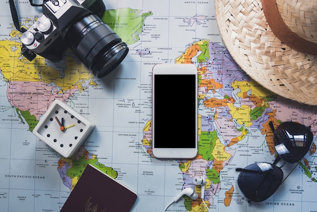 Plat leggen van reizen Premium Foto