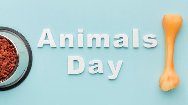 Plat leggen van voerbak met bot voor dierendag Gratis Foto