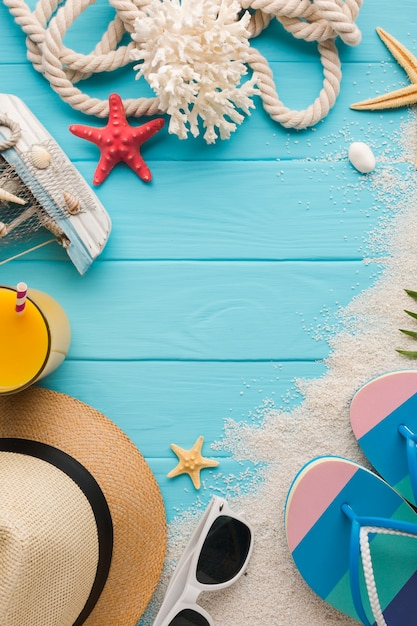 Plat leggen zomer vakantie concept met kopie ruimte Gratis Foto