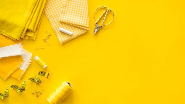 Plat naaien essentials met kopie ruimte Gratis Foto