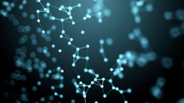 Plexus, abstracte achtergrond met molecuul dna. medische, wetenschaps- en technologieconcepten Premium Foto