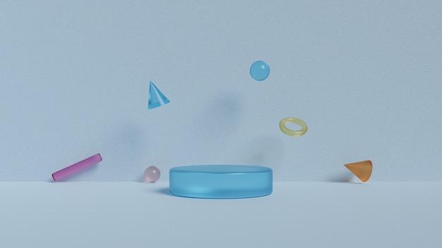 Podium en geometrische vormen. 3d-rendering Premium Foto